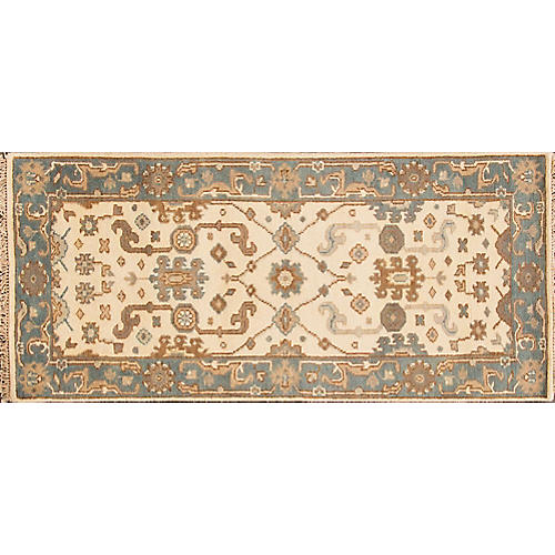 """2'6""""x5'8"""" Modern Oushak Hand-Knotted Rug, Ivory"""