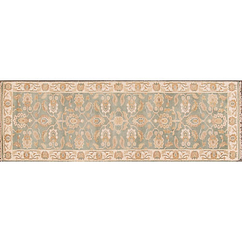 """2'8""""x8' Modern Oushak Hand-Knotted Rug, Olive"""