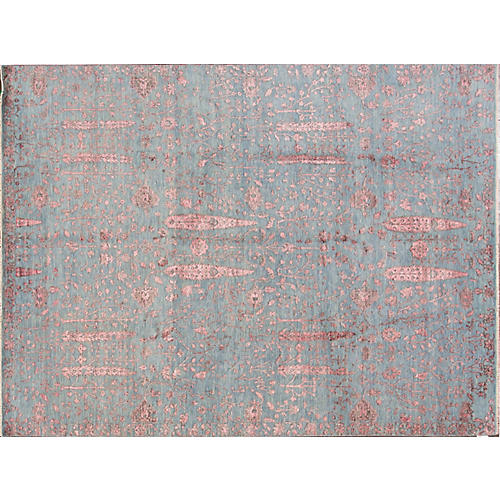 9'x12' Modern Hand-Knotted Rug, Blue