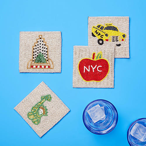 Asst. of 4 NYC Coasters, Silver/Multi