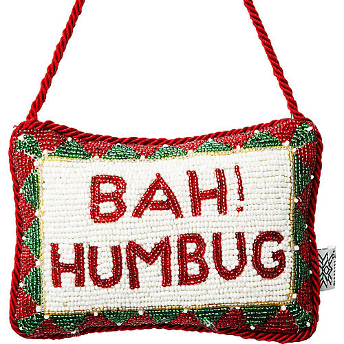 Bah! Humbug Beaded Door Knocker, Red/White