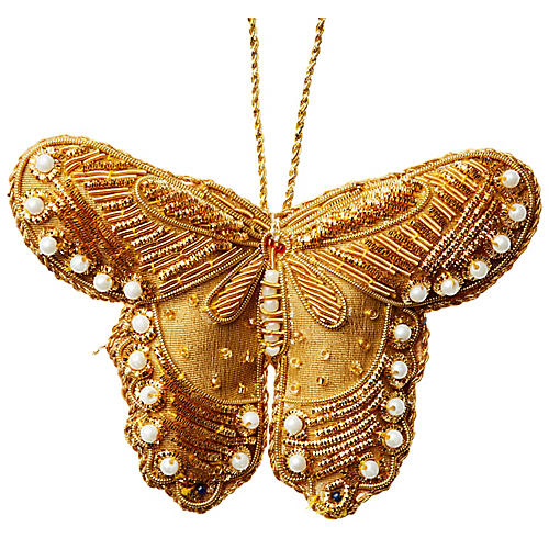 Butterfly Beaded Ornament, Gold
