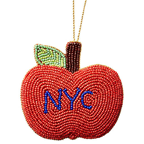 NYC Apple Beaded Ornament, Red/Multi