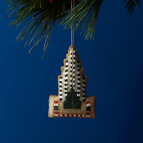 Rockefeller Center Beaded Ornament, White/Multi