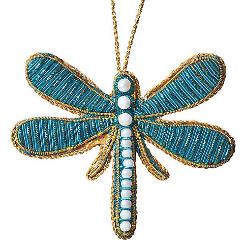 Dragonfly Beaded Ornament, Turquoise/Multi