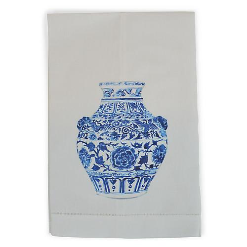 Yang Vase Lion Guest Towel, White/Multi