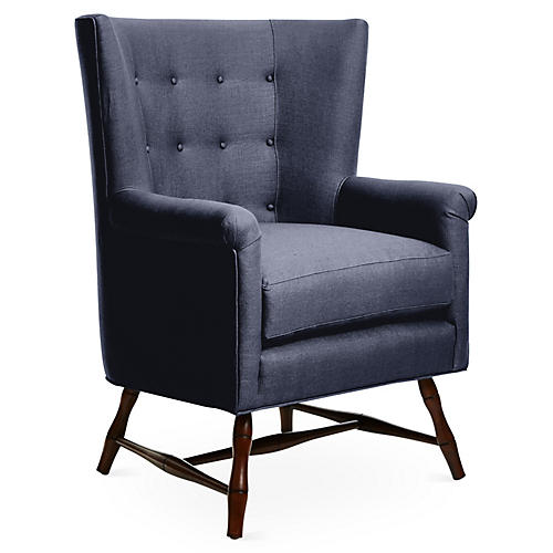 Westcott Wingback Chair, Navy Linen