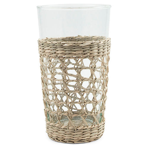 S/2 Sea-Grass Highball Glasses, Natural/Clear