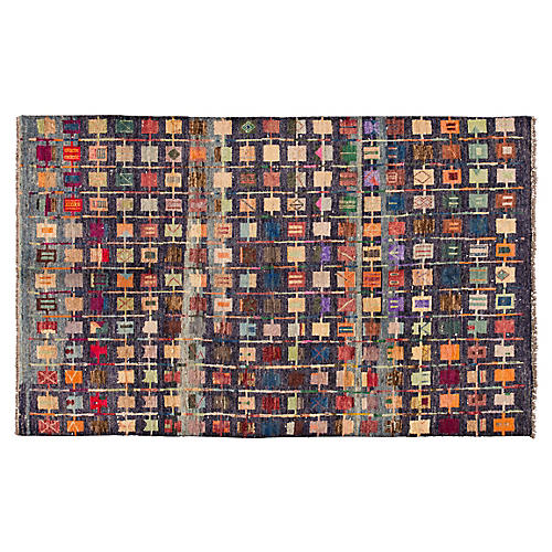 """6'4""""x10' Gabbeh Hand-Knotted Rug, Navy/Multi"""