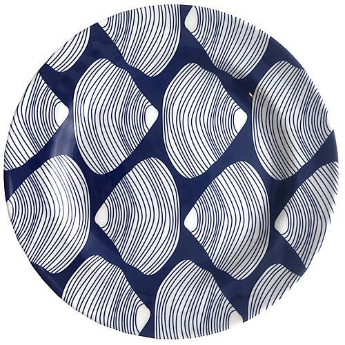 Clamshell Melamine Side Plate, Blue/White