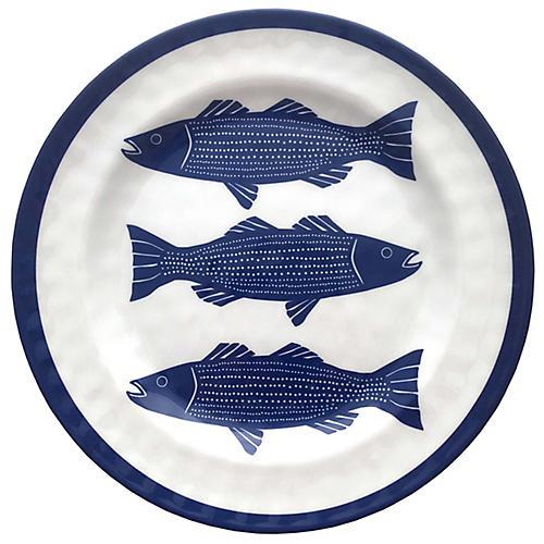 Striper Melamine Dinner Plate, Blue/White