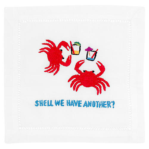 S/4 Shell We Cocktail Napkins, White/Multi