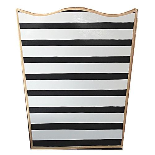 """12"""" Pinstripe Wastebasket, Black/White"""