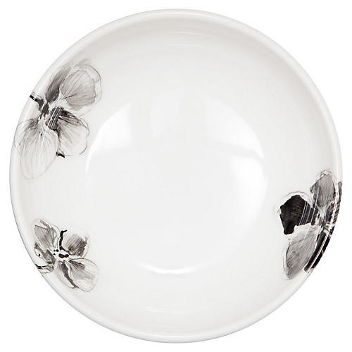 Orchid Melamine Bowl, Black/White