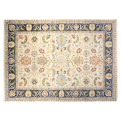 10'x14' Agra Hand-Knotted Rug, Ivory/Navy