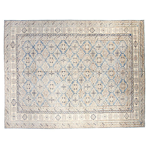 10'x13' Lauren Hand-Knotted Rug, Ivory/Blue