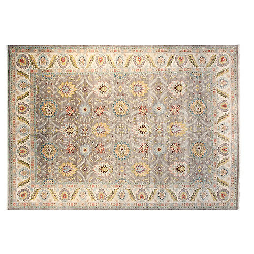 9'x12' Sari Oushak Hand-Knotted Rug, Gray/Multi