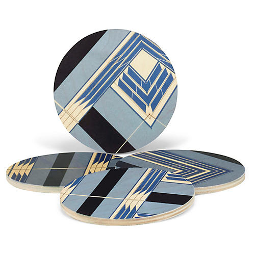 Asst. of 4 Sybil Coasters, Sky Blue/Black