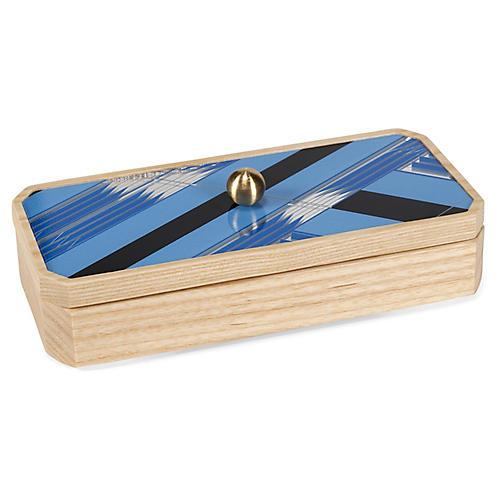 "8"" Sybil Decorative Box, Sky Blue"