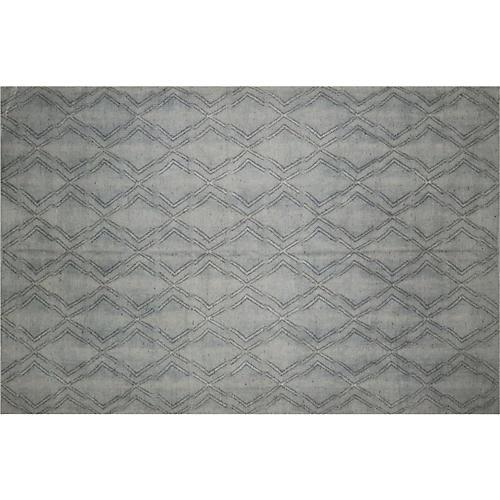 "6'7""x10' Kilim Flat-Weave Rug, Gray"