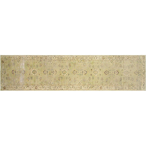 "2'8""x13'3"" Tabriz Runner, Light Green"