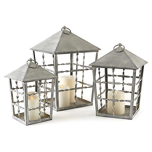 Asst. of 3 Lexington Outdoor Lanterns, Washed Gray