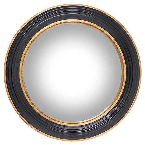 Jackson Convex Wall Mirror, Ebony/Gold
