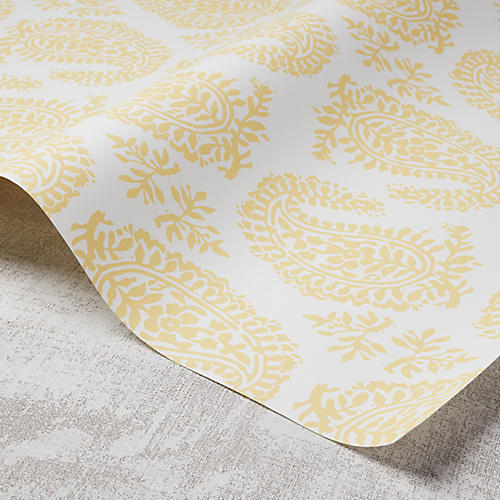 Paisley Wallpaper, White/Meyer Lemon