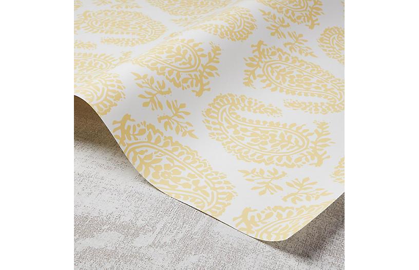Paisley Wallpaper, White/Meyer Lemon