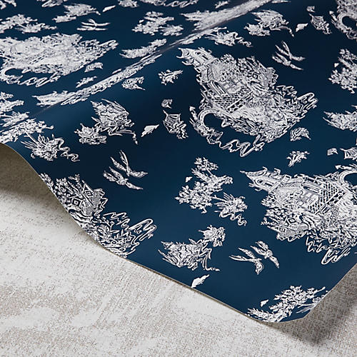 Chinoiserie Wallpaper, Powdery Navy/White
