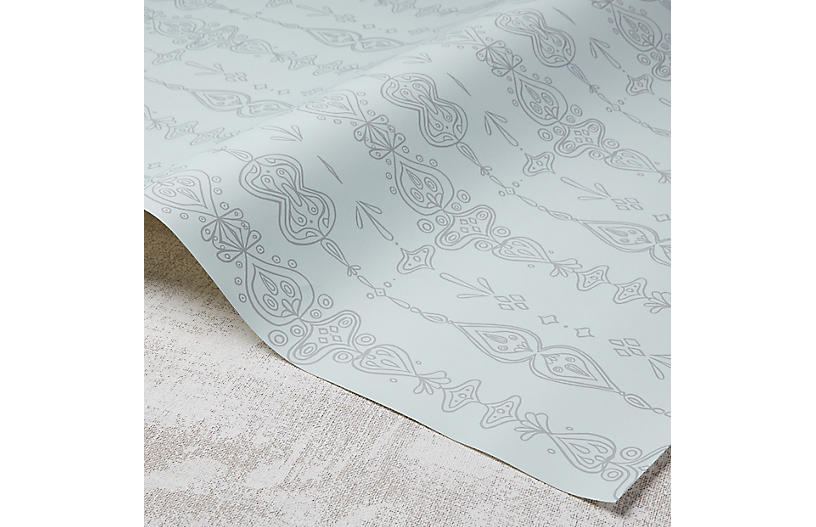 Moroccan Whimsy Wallpaper, Hydrangea/Gray