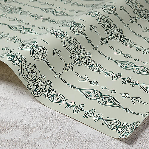 Moroccan Whimsy Wallpaper, Spanish Moss/Green