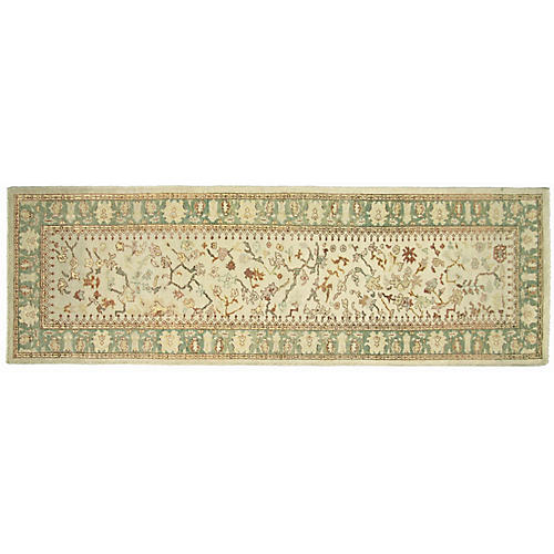 """3'1""""x9'7"""" Sultanabad Runner, Ivory/Green"""