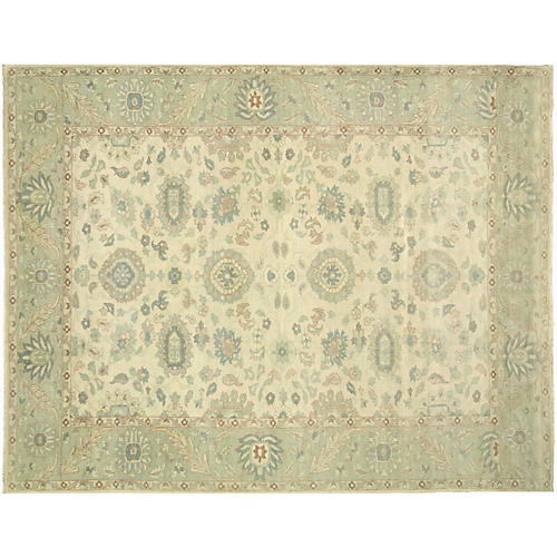 "9'10""x12'6"" Sultanabad Rug, Green/Ivory"
