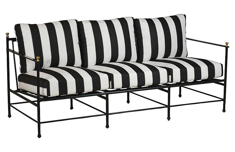 Frances Sofa, Black/White Cabana Stripe