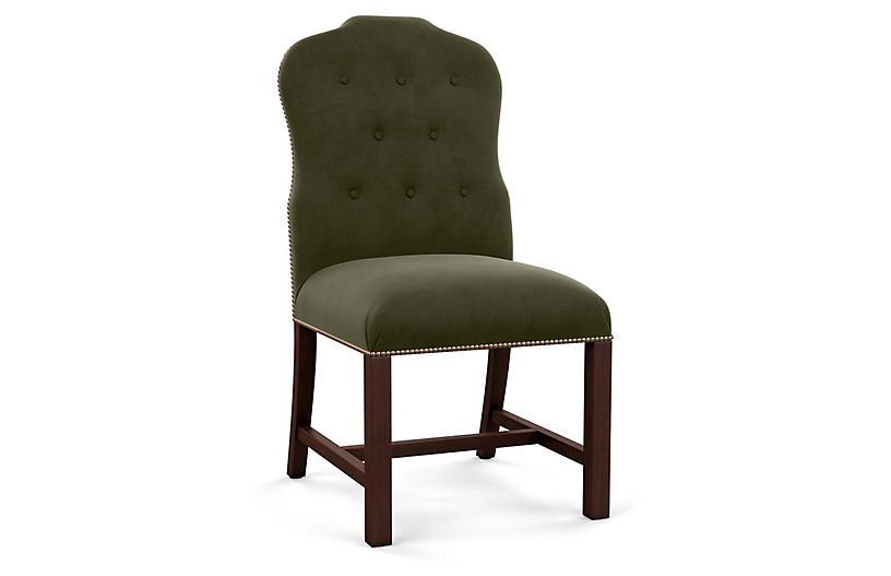 Jack Side Chair, Olive Velvet