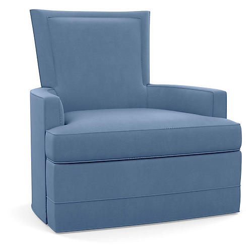 Cameron Swivel Club Chair, Cornflower Linen