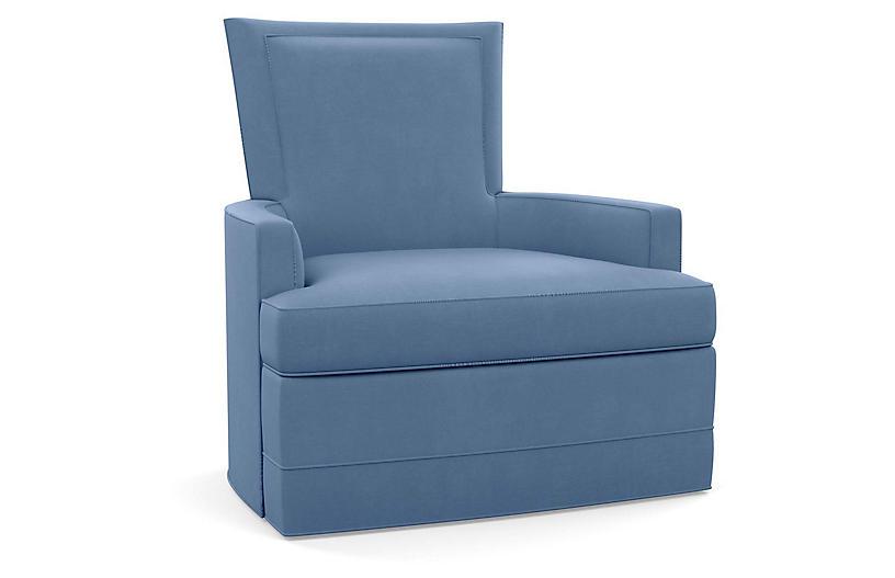 Cameron Swivel Chair, Cornflower Linen