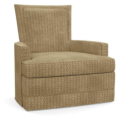 Cameron Swivel Club Chair, Hexagonal Beige