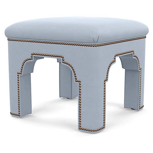 Taj Ottoman, Light Blue Suede