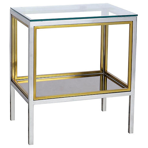 Windmill Side Table, Silver/Brass