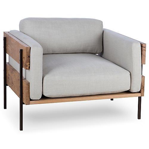 Carson II Club Chair, Marbella Oatmeal Linen