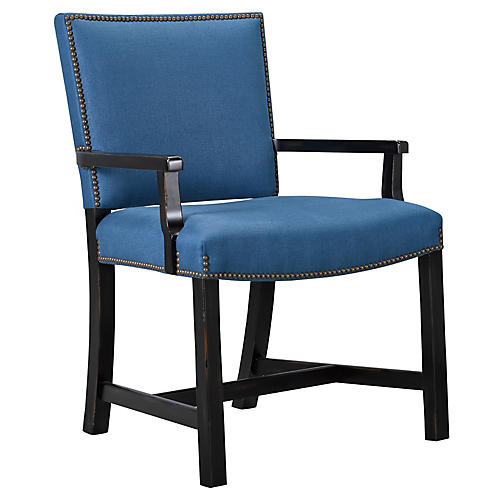 Sheffield Armchair, Bright Blue Linen