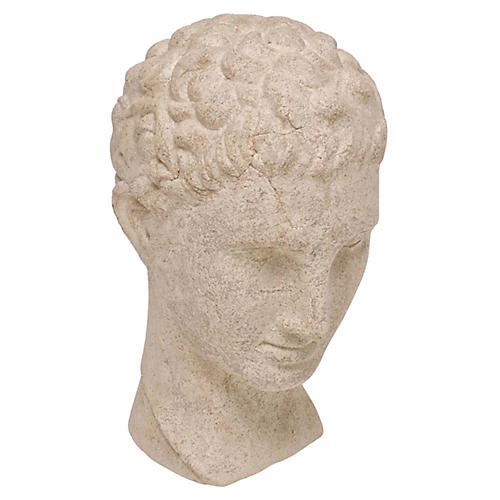 """13"""" Corinth Bust, Antiqued Stone"""