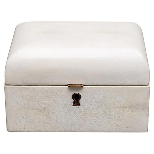 "7"" Domed Parchment Decorative Box, Ivory"