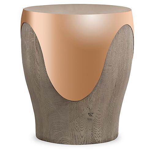 Bessie Side Table, Rose Gold/Oak