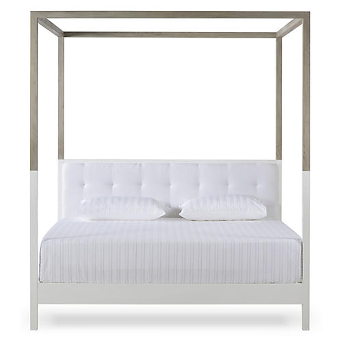 Duke Canopy Bed, Ivory/Gray Linen