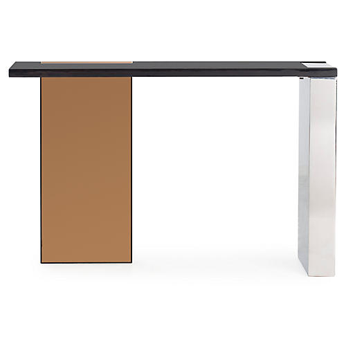 Reed Console, Black/Rose Gold