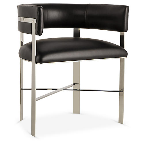 Art Armchair, Silver/Black Leather