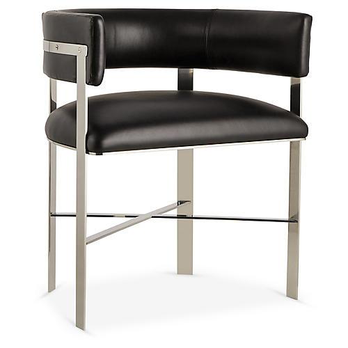 Art Armchair, Silver/Black Leather